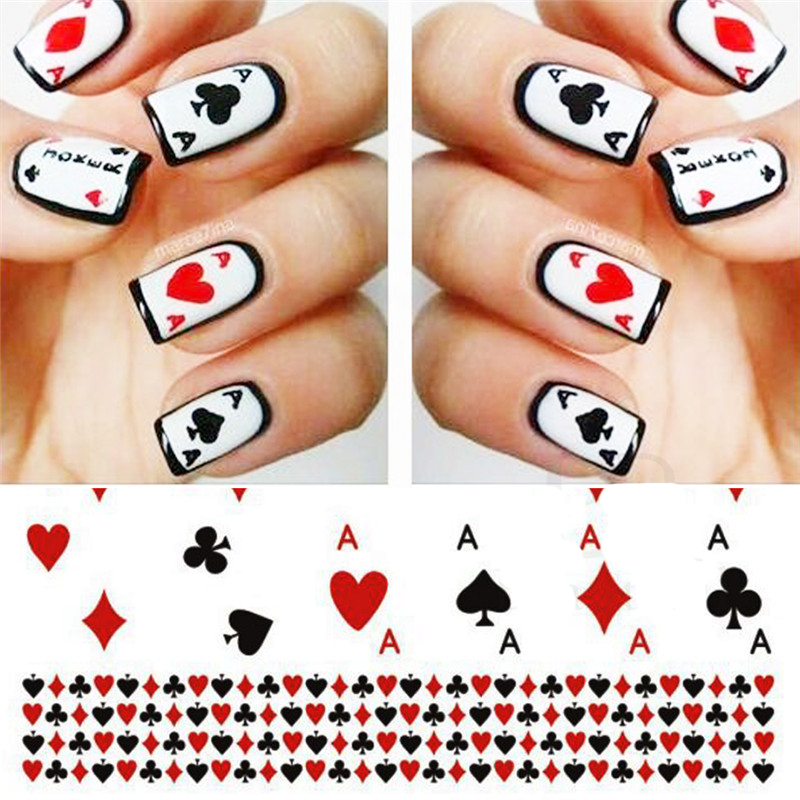 1 Sheet Poker Fashion Water Transfer Sticker Decals Playing Cards Design Tips Manicure Sliders for Nail Art Decoration BESTZ-252
