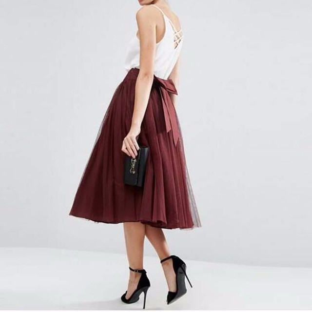 8841e830ada9a Burgundy Wine Red Tulle Pleated Women Skirt Saia Faldas Summer Street Bow  Sashes for Beauty Lady Wear Prom Party Vintage Modest