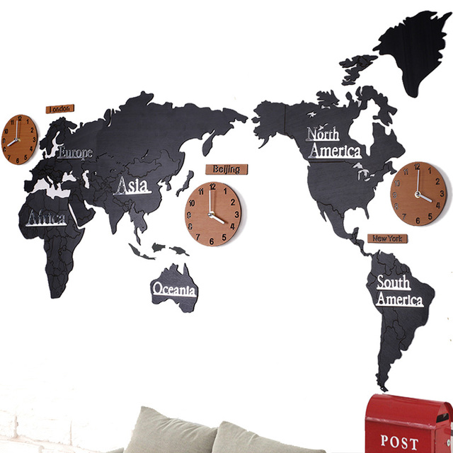 Clock World Map.2 Style Creative 3d Wooden Wall Clock World Map Large Size Wall