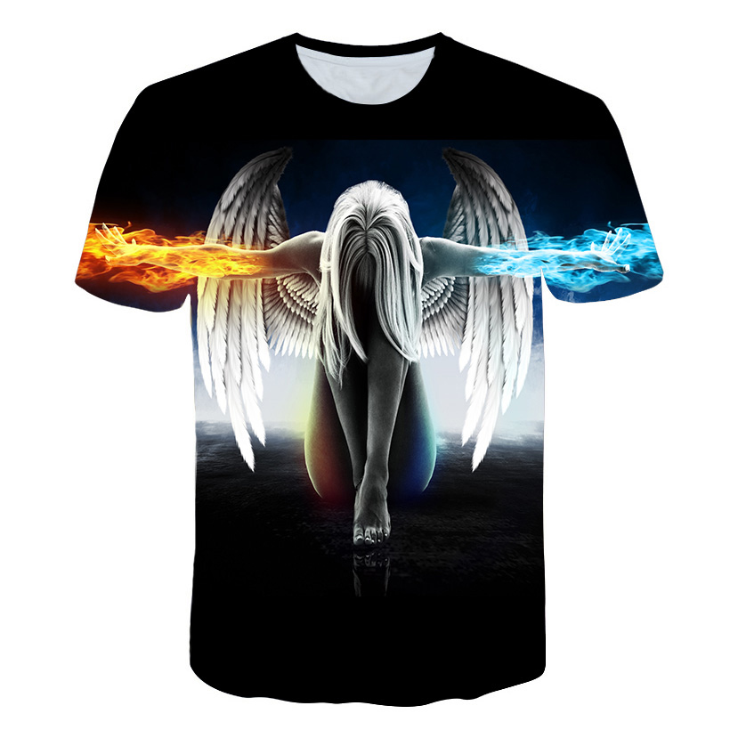 2019  Hot Sale Angel Wings 3D Print T-Shirt Men's Women's T-Shirt Summer Anime Ricka And ShameT-Shirt Tops And TShirt Colors