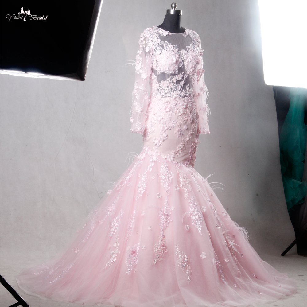 c3c8b525819 RSW1112 Real Pictures Yiaibridal Long Sleeve Mermaid Pink Wedding Dress  Detachable Train-in Wedding Dresses from Weddings   Events on  Aliexpress.com ...