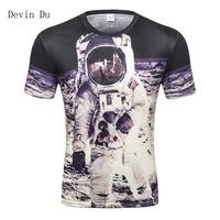 Space t shirt for men/boy 3d tshirt funny print great Astronaut on the Moon summer tops tees creative t shirt MFJ