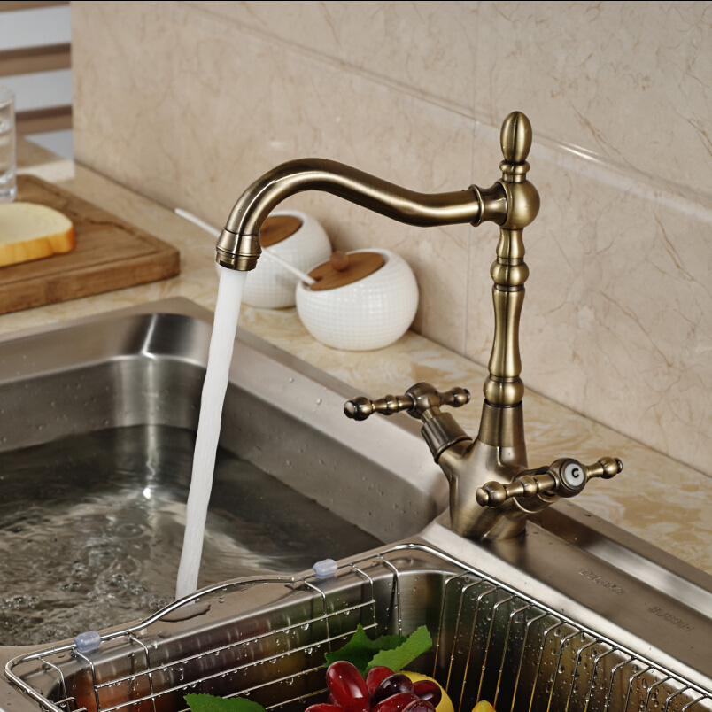 ФОТО Contemporary Antique Bronze Dual Handle Kitchen Sink Taps One Hole Hot And Cold Water Faucet