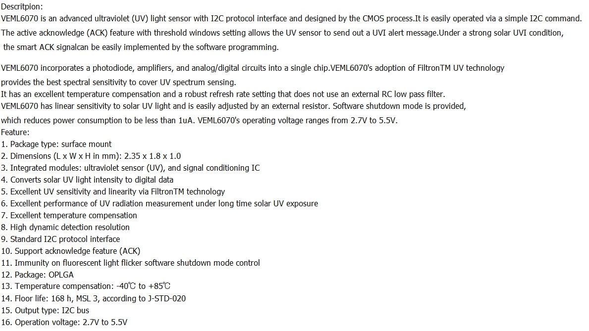 VEML6070 UV Sensitivity Detection Light Sensor for I2C GY VEML6070 ...
