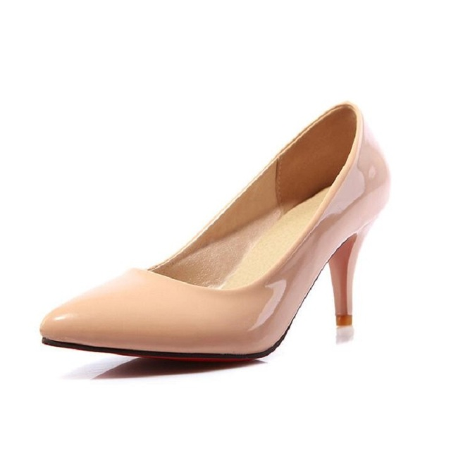 Plus Eur Size 40 - 43 - 44 45 46 47 48 Sexy Nude Pumps High Heels Women Shoes Ladies Office Heels Concise Solid Women Pumps