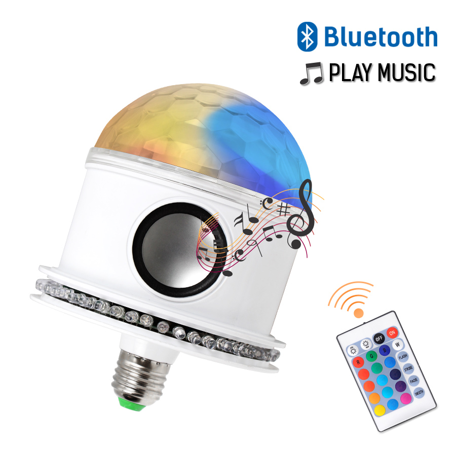 Bluetooth Remote E27 Disco Ball Light Bulbs AC110 265V LED RGB+White Magic 7W Bulb Projector Stage Light Wireless Music Speaker