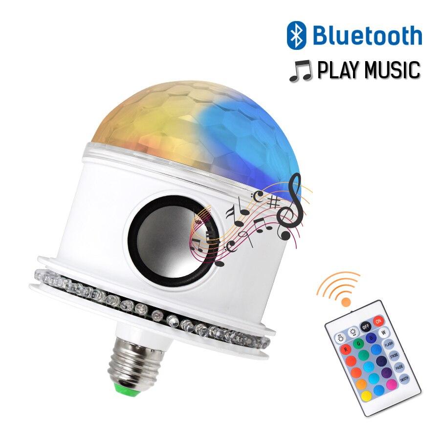 Bluetooth télécommande E27 Disco Ball ampoules AC110-265V LED RGB + blanc magique 7 W ampoule projecteur lumière de scène sans fil musique haut-parleur
