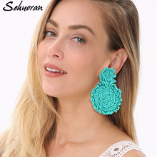 Sehuoran Bohemian Handmade Beads Drop Earrings For Women Za Round Flower Big Dangle Earring 2018 Ethnic Fashion Trendy Jewelry(China)