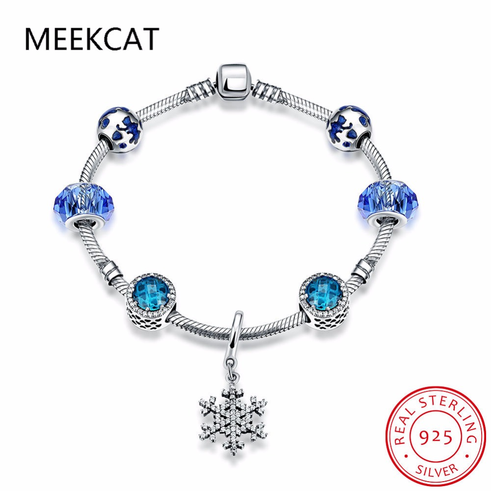 2017 Fashion 925 Sterling Silver Women Friendship Charm Bracelets Bangles  Snowflake Charms Bead Fit European Beads