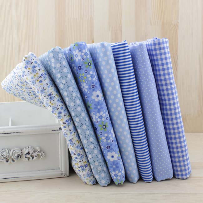 7 piezas de 50 cm X48cm-50cm envío gratis simple delgada de algodón Patchwork tela Dobby Floral serie Azul encanto cuartos Paquete de