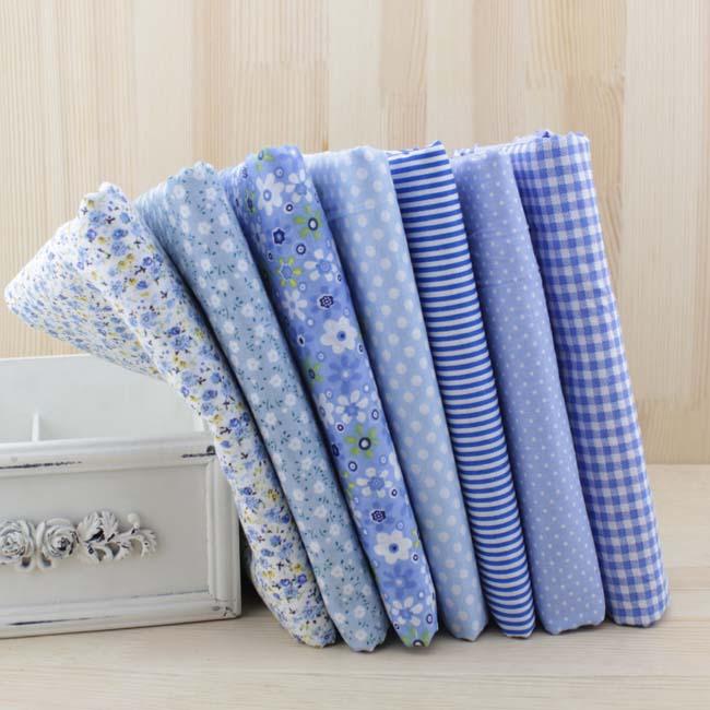 7 stücke 50 cm X48cm-50cm Kostenloser Versand Plain Dünne Patchwork Baumwolle Dobby Stoff Floral Serie Blau Charme Quarters Bundle Nähen