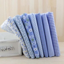 7pcs 50cm X48cm-50cm Free Shipping Plain Thin Patchwork Cotton Dobby Fabric Floral Series Blue Charm Quarters Bundle Sewing