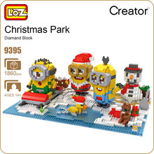 LOZ Diamond Blocks Christmas Park Snowman Santa Claus Figure Building Assembly Toy Micro Block Cartoon DIY Kid Gift Favors 9395