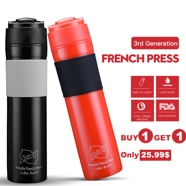 Coffee Pot 350ml Plastic Outdoor Vacuum Plunger Portable French Press With Filter Travel Mug