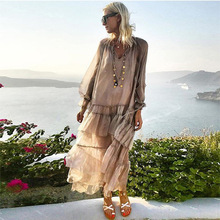European and American womens hot explosions net color V collar perspective flounces stitching long sleeve Bohemia dress