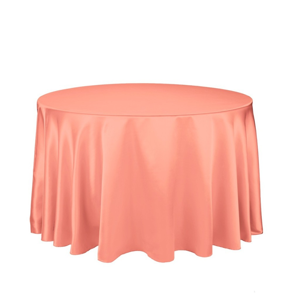 HK DHL Stain Feel 108 inch/280cm Polyester Round Tablecloth Peach for Wedding Event Banquet Party Ceremony, 5/Pack ...