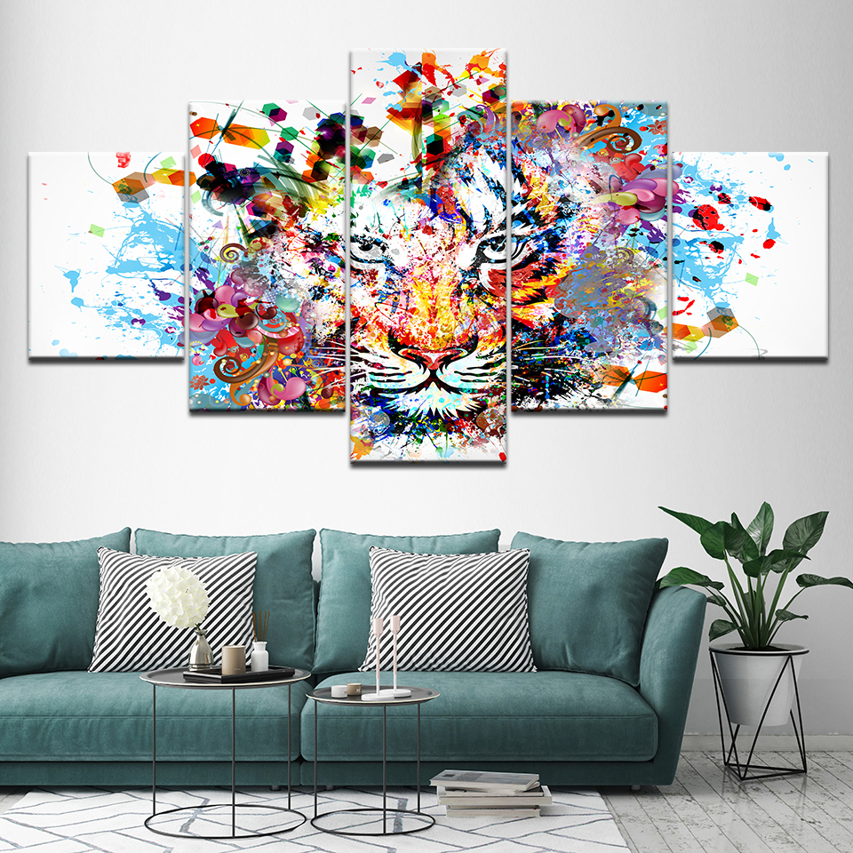 Canvas Painting colorful Tiger animal 5 Pieces Wall Art Painting Modular Wallpapers Poster Print for living