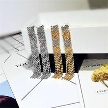 Женские сверкающие серьги ajojewel длинные металлические сережки