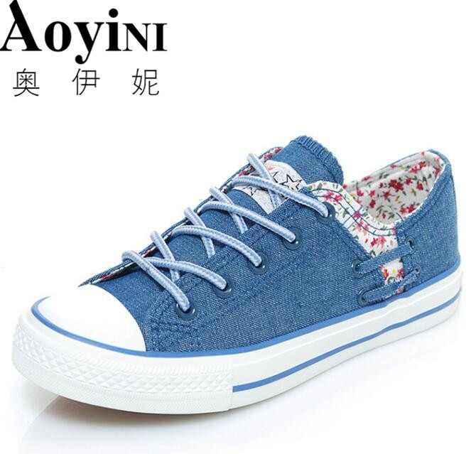 Women Vulcanize Shoes Lace-up Breathable Trainers Casual Walking Shoes Blue Canvas Shoes Woman Sneakers Size 35-39