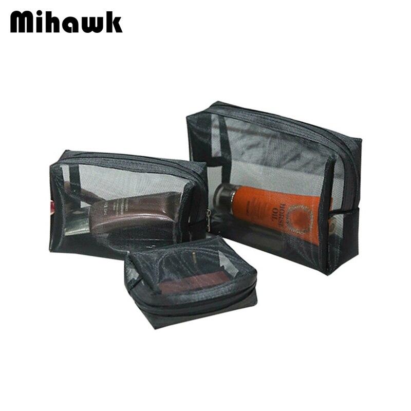 Mihawk Hitam Jaring 3 Pcs set Tas Kosmetik Wanita Riasan Penyimpanan  Lipstick Ritsleting Kantung Kasus Kecantikan Wanita Beautician Toiletry  Barang di Tas ... 30ecd5ef46