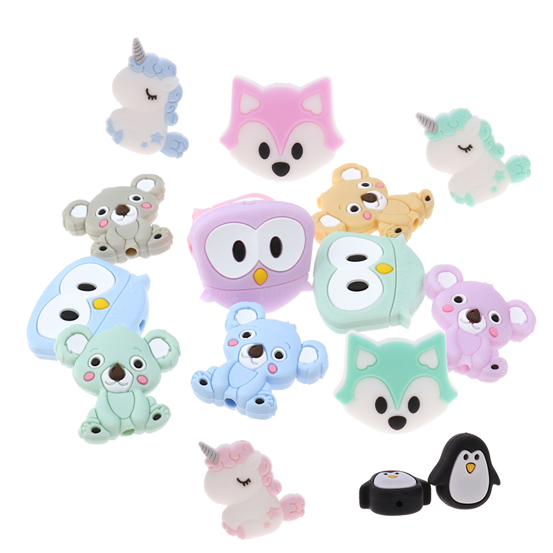 50pc Silicone Unicorn Teether Beads Animal BPA Free Baby Teething Necklace Sensory Pacifier Holder Shower Toy Food Grade Rodents