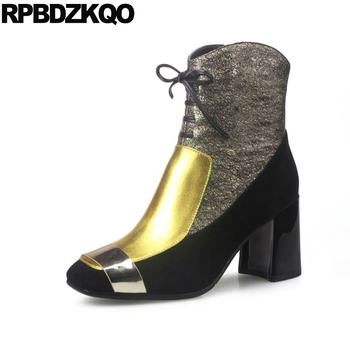 Metallic Lace Up Patchwork Fall Metal Booties Brand Women Winter Boots Genuine Leather Shoes Square Toe Chunky Gold High Heel