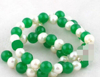 11.23 8 mm Green stone Real White Pearl 18KWGP Clasp Necklace
