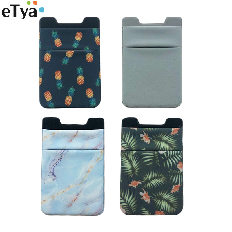 ETya Women Men  Elastic Mobile Phone Card Holder Sticker Adhesive Credit Business Bus ID Card Wallet Purse Pocket Bags Pouch