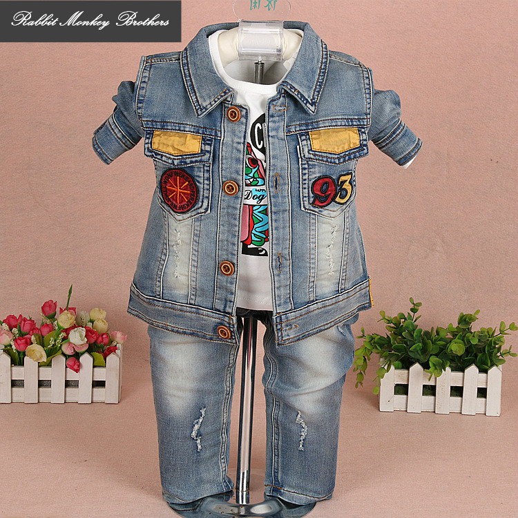 RMBkids Infant children's clothing Baby Boys Cartoon Denim Jacket three piece set Spring fall long-sleeved three-piece suit