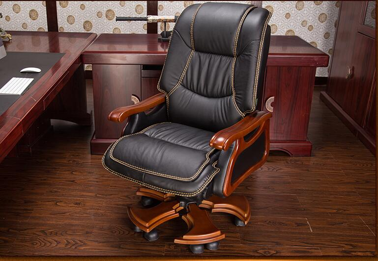 Купить с кэшбэком Boss chair leather computer chair home massage reclining leather executive chair solid wood armrest office chair.