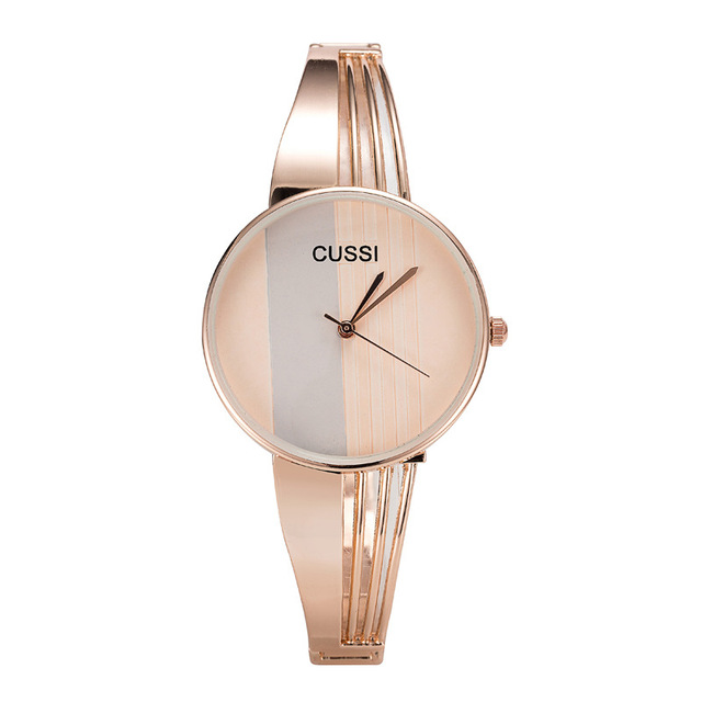 CUSSI Top Brand Silver Womens Watches Quartz Wristwatches Luxury Ladies Bracelet