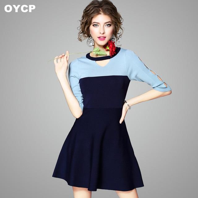 5238b7dfe51add OYCP gebreide jurk vrouwen herfst lente casual hol blauw wit gebreide trui  korte dames tuniek mini