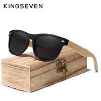 KINGSEVEN 2019 Handmade Polarized Sunglasses Women Men Natural Bamboo Colorful Lens Frame Spring Legs Oculos de sol Men's Glasses