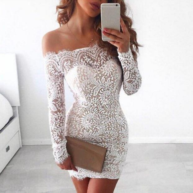 Knee-Length   Lace Dress for Women   slash neck   Summer Dresses   A-Line  Lace   Vestido