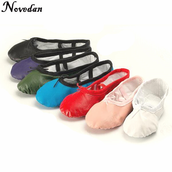 05c25009f5 Leather Flat Slippers White Pink Black Salsa Ballet Shoes For Girls Children  Woman Yoga Gym Dance Shoes