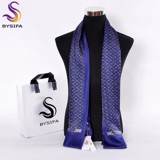 [BYSIFA] Brand Men Pure Silk Scarf Businessmen Long Scarves Spring Autumn All-Match 100% Silk Neck Scarf Winter Marmth Scarves