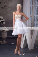 2016 Short Cocktail Party Dress A Line Wedding Party Dress Gold Beadings Sweetheart Cocktail Gowns Foer