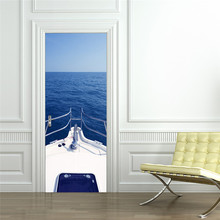 Door Decor Stickers Ships Blue Sea Cliff Stream Waterfall Street Beautiful Scene Wall Decals Art Poster Mural Refrigerator