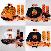 4pcs Newborn Baby Girls Clothes Jumpsuit Romper Bodysuit Pumpkin Outfit Set Skull Halloween Clothes for Bebes Party Cosplay
