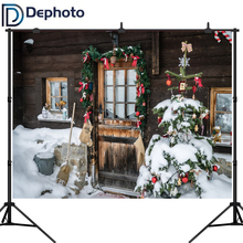 Dephoto Christmas Photography Background Wooden house Children Party Decoration Backdrops Photo Studio Baby Child Snow