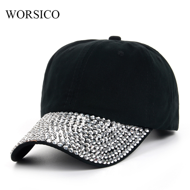 9f7aad1d030 WORSICO New Black Rhinestone Baseball Cap Fashion Hip hop Cap Women s  Baseball Caps Super Quality Female Hat Drop Shipping