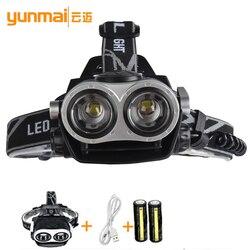2018New T6 Headlamp Outdoor HeadLamp 2T6 bead LED Headlamp Headlight Flashlight Head Camping Fishing Light for 18650 Battery