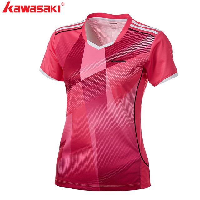 2018 Kawasaki  Badminton Clothes Sportswear Shirts For Female V-Neck JerseyBreathable Badminton Sport T-shirt For Women ST-T2008