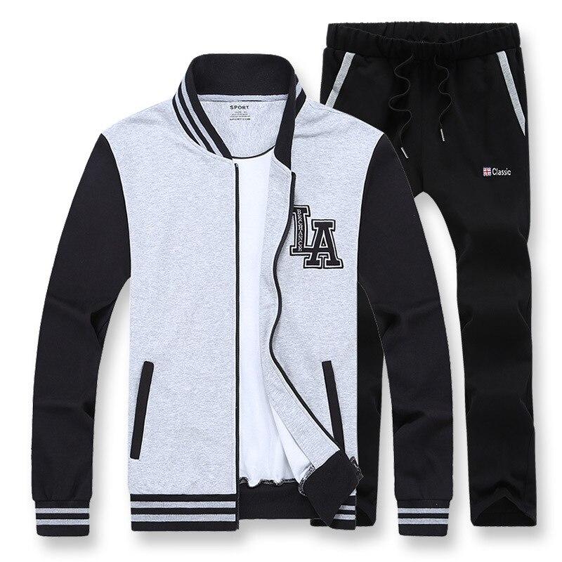Amberears 2019 nouveau printemps automne costume de sport hommes ensemble veste de Baseball + pantalon survêtement deux pièces ensemble survêtement pour hommes vêtements