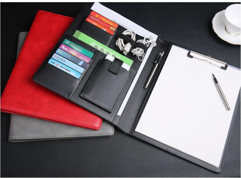 Classeur A4 document support organisateur padfolio dossiers porte-documents pour conférence signature avec support de téléphone portable clip 1218B