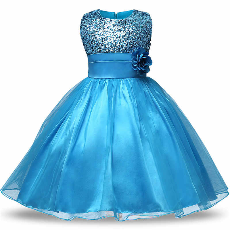 ab322326c1 Flower Girl Sequined Dress for Girl Wedding Baptism Bridesmaid Teens Girls  Clothing Vestidos De Fiesta Largos Elegantes De Gala