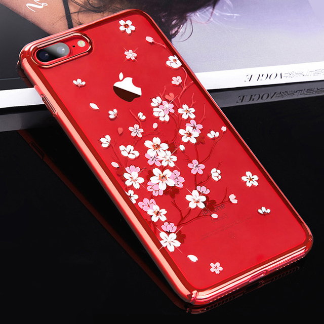 6bc3e871d KINGXBAR for iPhone 8 7 Plus Case Crystals from Swarovski Flower Rhinestone  Hard Transparent Case for iPhone 7 8 Plus Cover Capa