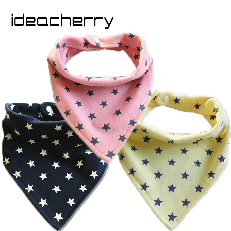 ideacherry Korean Style Infant Bibs Small Five-Star Printing Bibs Childrens Triangle Towel Baby Bibs Baby Product Cotton Bibs