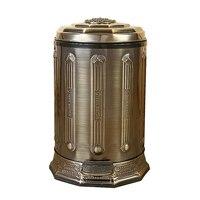 6L нержавеющая сталь ведро для мусора в античном стиле держатель для мусорных пакетов банка с крышкой Бронзовый мусорное ведро для Дом Офис