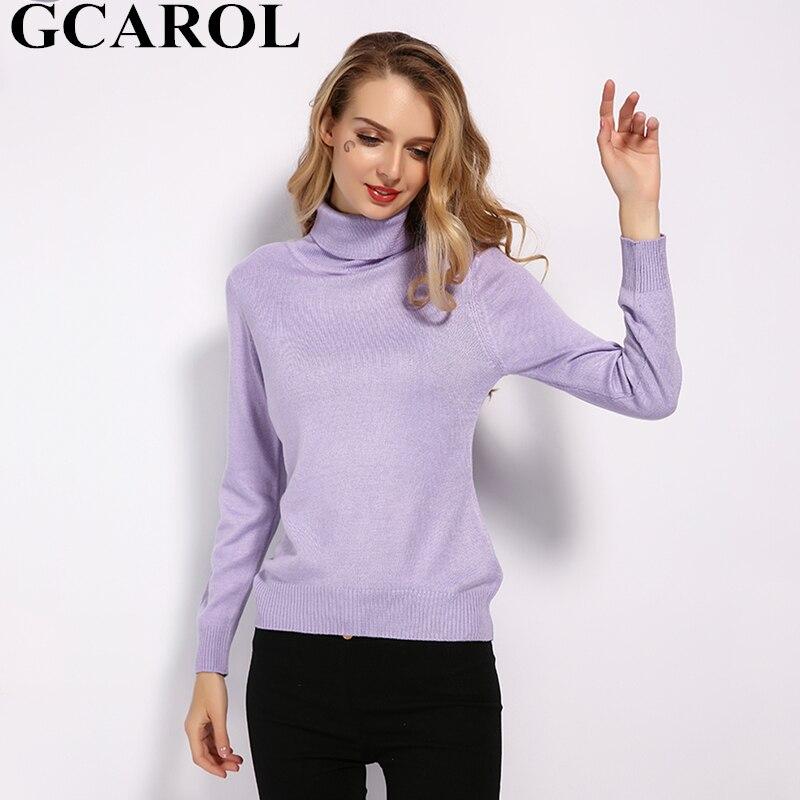 Gcarol nova gola alta feminina 30% lã camisola outono inverno doce jumper malha brilhante pulôver streetwear plus size S-3XL